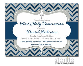 First Communion Invitation Boy, 1st Communion Invitation Navy Blue Grey, Boy First Communion Invitation Navy, Printed, Printable Invite