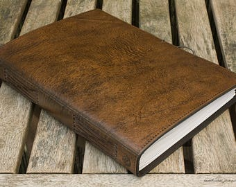 A4, Large, Classic Leather Bound Journal, Dark Brown Leather Journal, Blank Book, Leather Notebook, Guestbook, Personalised Journal, Diary.