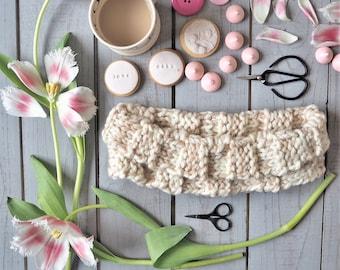 Ladies handknit cream neckwarmer Ladies knit cream scarf Ladies cream cowl Cream cowl Cream scarf Cream scarves Cream knit cowl 614