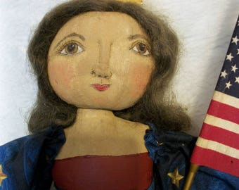 PATTERN, Primitive doll, Americana folk art original, handmade by Dumplinragamuffin,#210