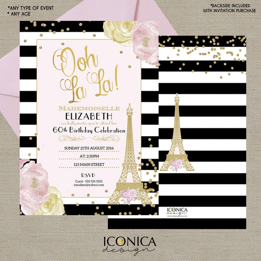 French Party Invitation 60 Years Birthday or any age Floral Invite ...