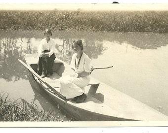 Vernacular girls women boat antique photo friendship outdoor perfect day dress