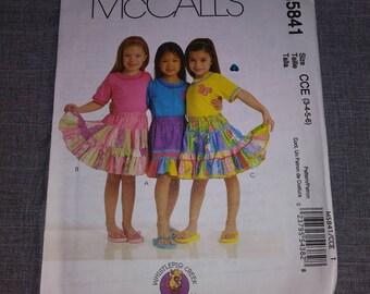 5841 McCalls Girl Child's skirt Pattern, UNCUT, Size 3-4-5-6, Pattern