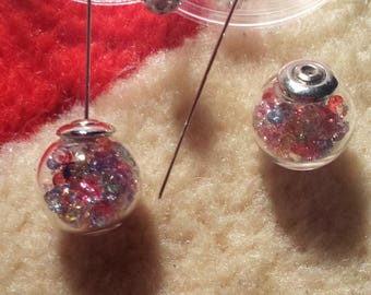 The pair of stud earrings balls and multicolored customize beads