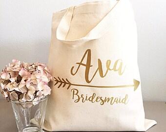 Personnalisé sacs fourre-tout pour les femmes - fourre-tout or-personnalisé - nom et flèche
