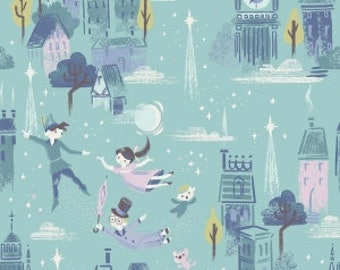 Peter Pan Main Print on Mint Green from Riley Blake's Neverland Collection