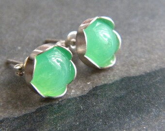 Chysoprase Studs, 8mm Green Cabochon, Green Gemstones, Sterling Silver Posts, Stud Earrings, Woman's Earrings, Gift, KarenWolfeCreations