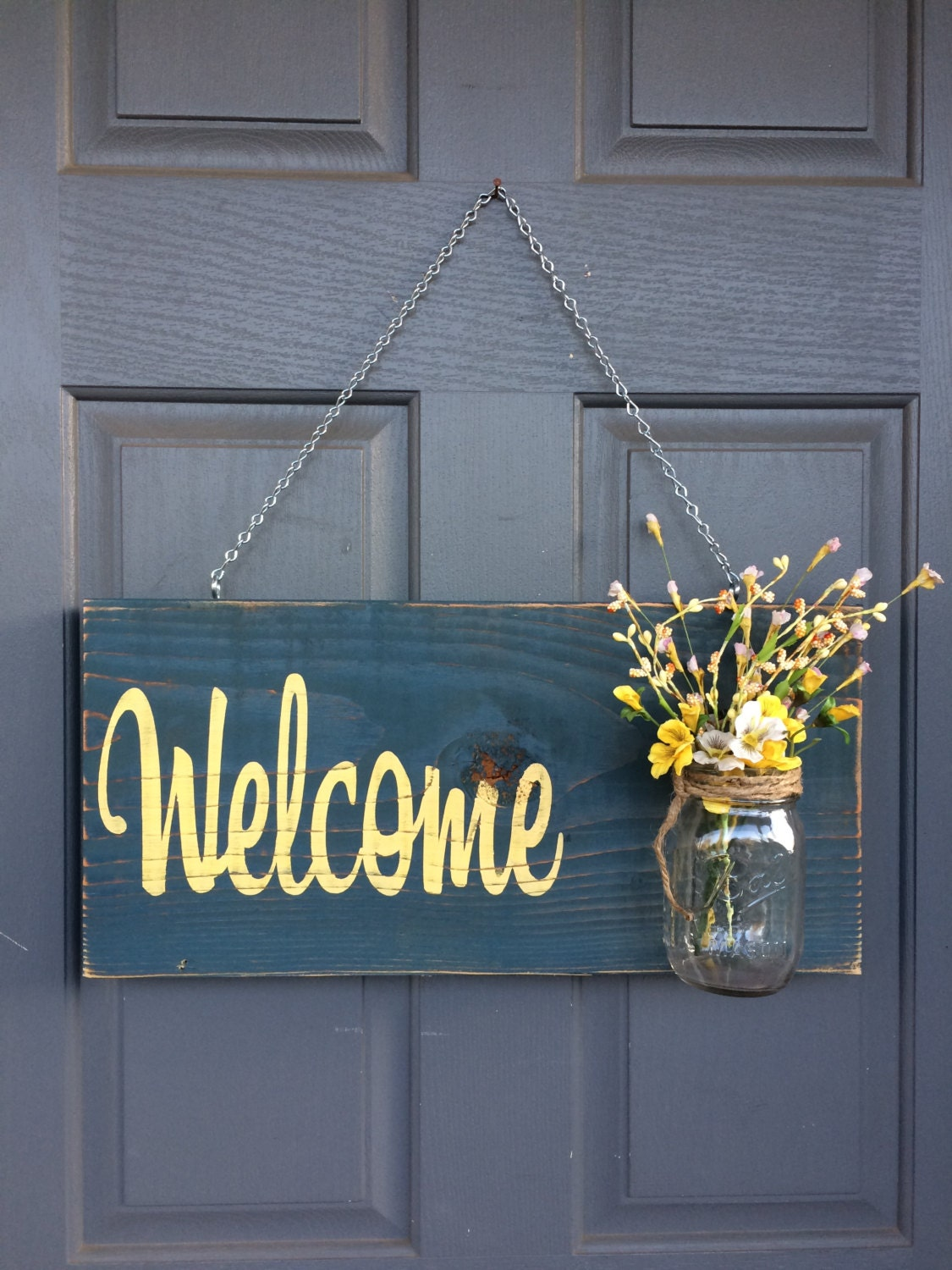 Rustic outdoor welcome sign blueyellow mothers day gift zoom rubansaba
