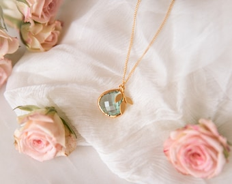 mint stone necklace
