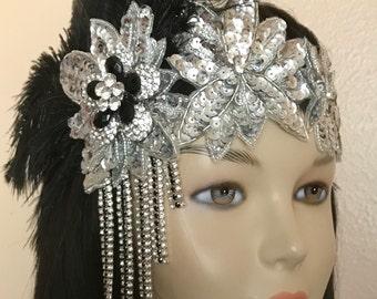 Gatsby headpiece/1920s headpiece/Flapper headpiece/Rhinestone headpiece/Wedding Headpiece/Sequined/hair accessories/hair jewelry/Tina