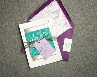 "Purple Bat Mitzvah Invitations, Bat Mitzvah Invitation, Aqua and Purple Birthday Invite, Floral Wedding - ""Playful Calligraphy"" FP-NL SAMPLE"