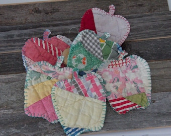 Teacher ornaments handmade Apple vintage quilt  red white blue, rose whites,  green plaids  holiday decor teacher gifts