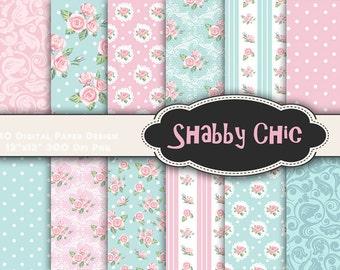 INSTANT DOWNLOAD Shabby Chic Flower Digital Scrapbook Paper, Pink Blue Flower Digital Paper Pack, Shabby Chic Printable Paper 00015