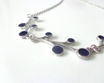 Blue bubbles necklace, blue branches necklace, blue silver necklace, elegant necklace