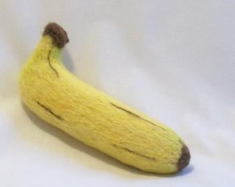 Needle Felted Banana - Life Size - Felted Fruit - Felt Banana - Needlefelt Fruit - Play Food - Home Decor - Felt Fruit