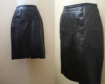 Leather Pencil Skirt / 80s/90s Black Leather Pencil Skirt