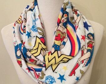 Wonder Woman Infinity Scarf, Flannel Scarf, Superhero, Comics, Comic Book