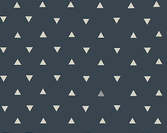 Triangle Tokens Ink in Woven, Observer One Yard cut fabric - Art Gallery Fabrics, April Rhodes, triangle, modern Southwest, navy metallic