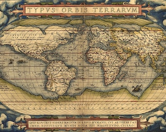 First modern atlas created by Abraham Ortelius in 1570.  Vintage reproduction print poster.