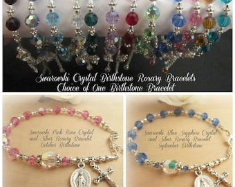 Swarovski Birthstone Crystal and Silver Rosary Bracelet - You Choose Birthstone Color