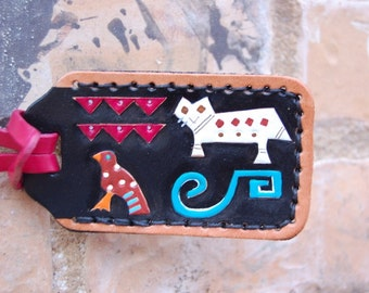 Indian Animals leather luggage tag