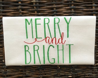 Christmas kitchen or hand towel/Holiday tea towel/ gift under 20/ Merry and Bright/