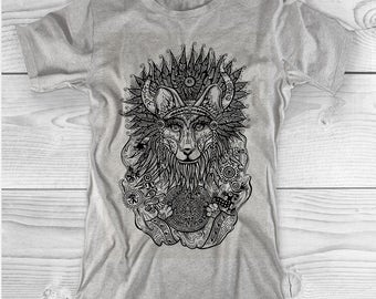 Wolf And Mayan Ornament T Shirt
