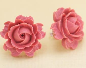 Vintage Coral Flower Post Earrings