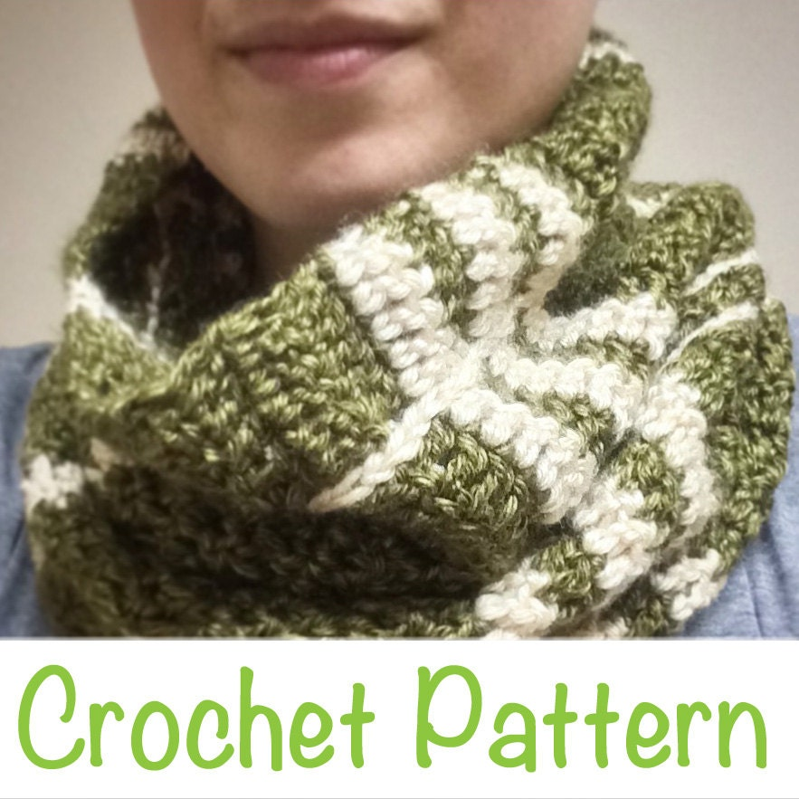 Simple 2 Color Plaid Scarf Infinity Scarf Crochet Pattern