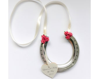 Lightweight aluminium wedding horseshoe perfect for a bridesmaid or flower girl to carry as a traditional good luck token for the bride