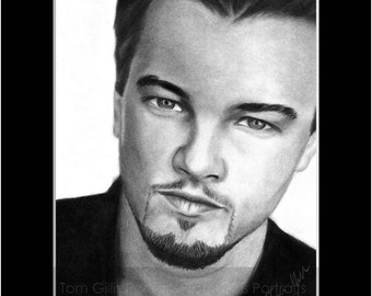 portrait drawing of Leonardo DiCaprio (matted print)