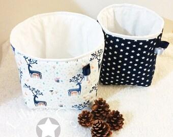 Fabric's basket for baby boy / Layer's basket / storage basket of blue and white star / Trash forest spirit / Basket organization
