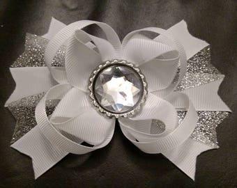 White sparkling hair bow