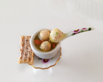Matzah Ball Soup Ring - Food Jewelry - Passover Ring - Passover Jewelry - Miniature Jewish Food Jewelry-Passover Mini Food