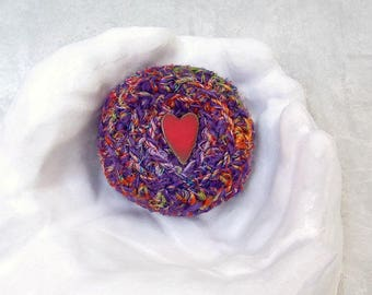 I Love You Silk Basket -  Red Heart Button Embellished Purple Silk Basket w/ Lid - Valentine's Day, Mother's Day, Wedding Anniversary Gift