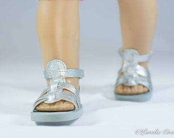 American Girl 18 inch doll SANDALS SHOES Gladiator Style in Silver Faux Leather with Ankle Strap