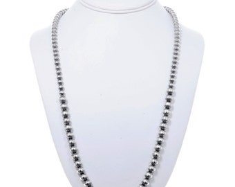 Navajo Desert Pearl Necklace Graduated Silver Bead Strand