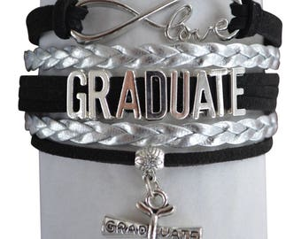 Graduation Bracelet, Graduation Jewelry, Personalized Graduation Gift, Class of 2017, Custom High School Grad, College Graduation