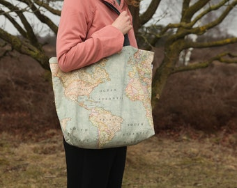 Large fabric tote bag / large beach bag / shopping bag with world map