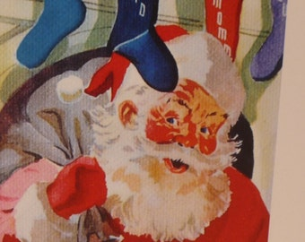 ON SALE Retro Santa Claus Cards - 2 styles -  Blank Card - 4 card set with Free US Shipping