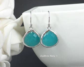 Bridesmaid Jewelry Bridesmaid Gift for Her Tiffany Blue Maid of Honor Gift Blue Aqua Turquoise Mint Green Earrings Wedding Jewelry