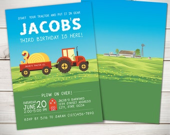Tractor Birthday Invitation | Get In Gear | Farm Birthday Invitation |  All Ages  | Digital File OR Professinally Printed