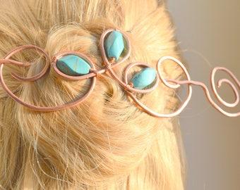 Metal hair slide, Copper hair slide with Turquoise stone, Hair accessories, Hair fork, Hair barrette, Brooch, Hair pin, FREE SHIPPING