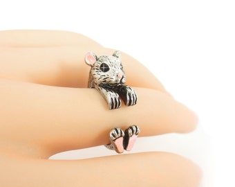Handmade Silver Mouse Ring,Trending Rings, Blush Pink Ring, Cute Animal Ring, Silver Wrap Ring, Animal Wrap Jewelry, Adjustable Gift for Her