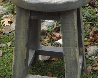 "Rustic, wood stool, farmhouse,  gray, round top,  18""H"