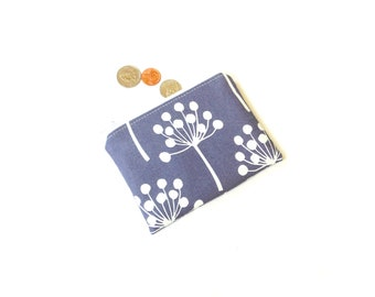Dandelion coin purse zipper pouch, dusted plum Echo fabric, small wallet, coin pouch