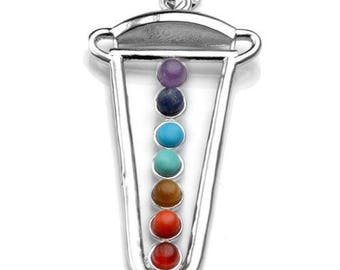 Silver plated - 7 chakra sword pendant