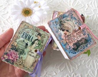 Jane Austen Party Favors | Miniature Books Birthday Shower Tea | Emma | Persuasion | Mansfield Park | Pride Prejudice | Personalize Books 12