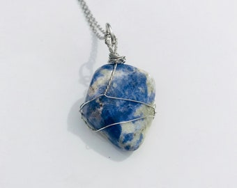 Hand wrapped stone necklace