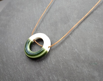Green and white porcelain circle pendant on leather cord // presents for women // anniversary gift // handmade jewelry // made in the UK